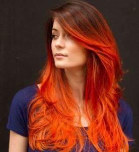 Как выглядит Омбре на темные волосы рыжие
