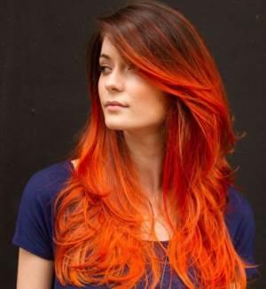 Как выглядит Омбре на темные волосы рыжее