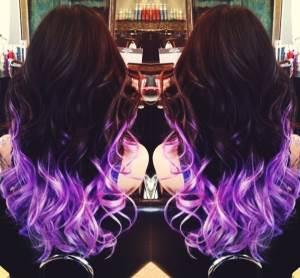 Как выглядит Омбре на темные волосы фиолетовое