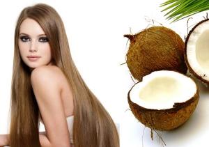 Девушка с длинными волосами и кокосовое масло