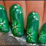 Маникюр Зеленые цветы