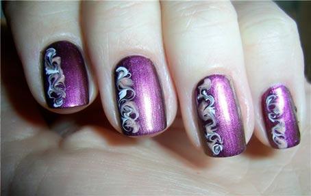 роспись ногтей иголкой,