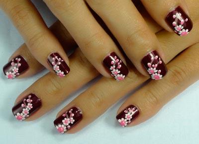 цветы на ногтях