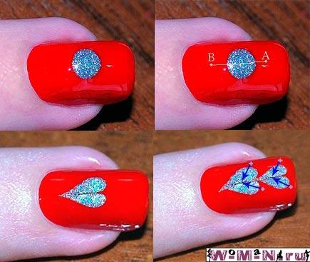 сердечки на ногтях