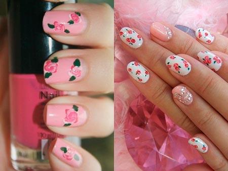 урок - розы на ногтях
