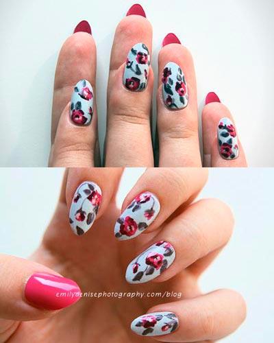 винтажные розы на ногтях