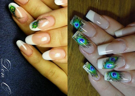 Дизайн ногтей с перьями павлина