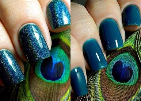 дизайн ногтей с павлиньим пером