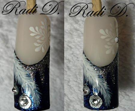 зимние рисунки на ногтях