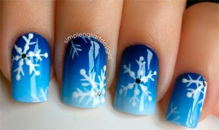 мк зимние рисунки на ногтях