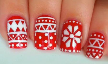 зимний орнамент на ногтях