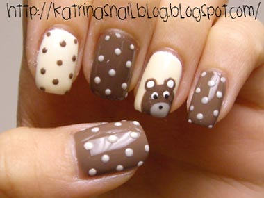 Дизайн ногте с мишками 58