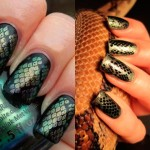 дизайн ногтей змея