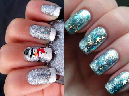 Зимний простой дизайн ногтей
