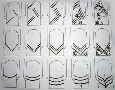 Схемы рисунков на ногтях