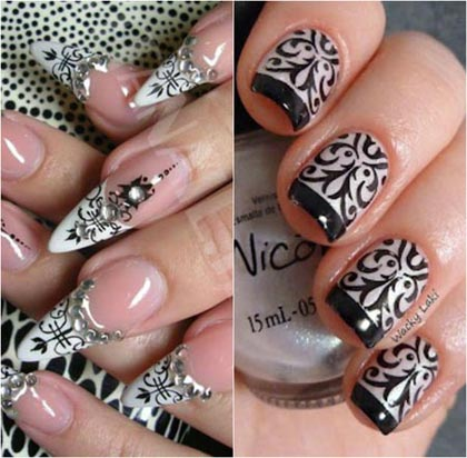 Белые рисунки на ногтях