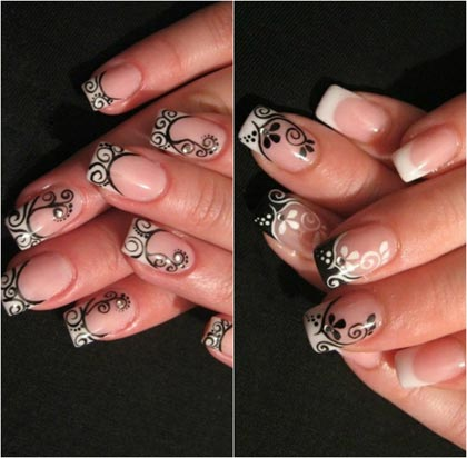 рисунки черно белые на ногтях фото