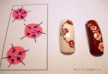 Рисунок на ногтях иглой