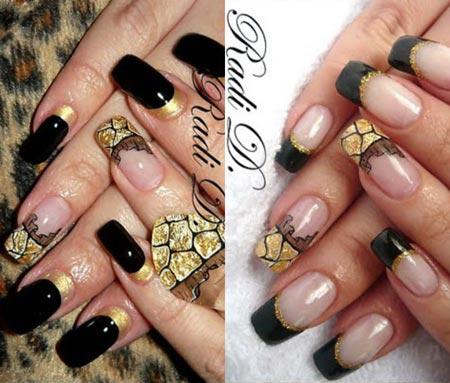 Черное кружево на ногтях