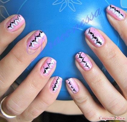 видео урок рисования иголкой на ногтях