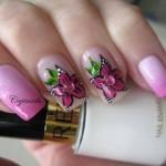 Роспись: лилии на ногтях