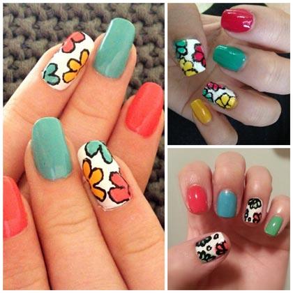 летний маникюр с цветами