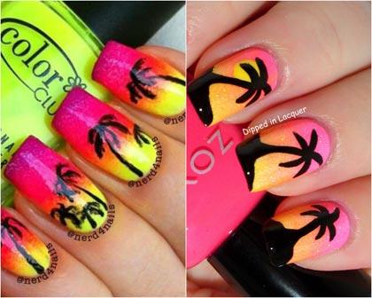 пальмы на ногтях