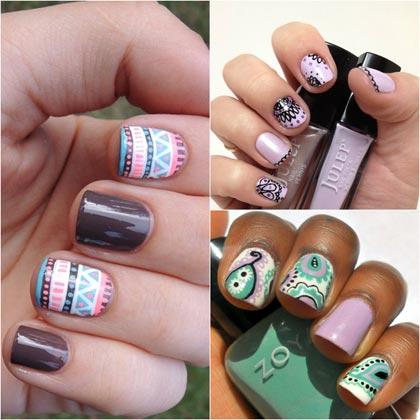 этнические узоры на ногтях