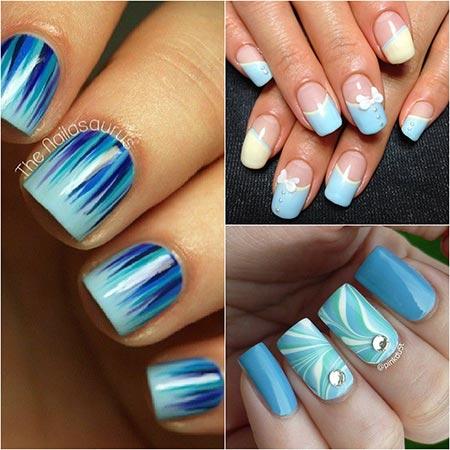 Синий и белый дизайн ногтей