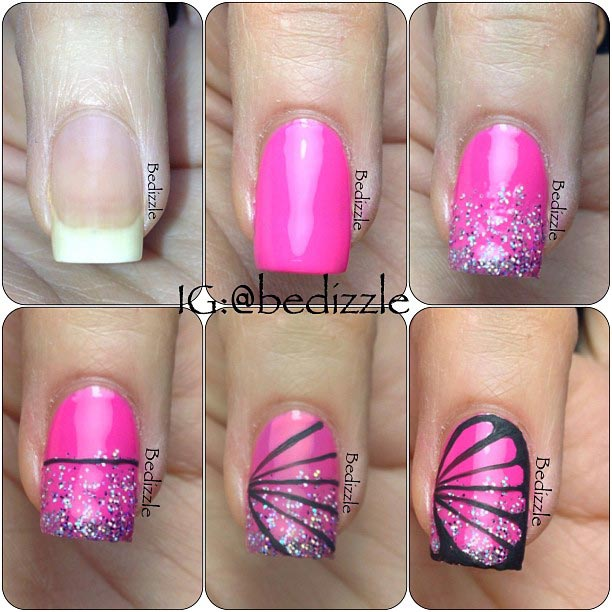 Бабочка на ногтях в домашних условиях