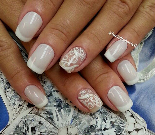 рисунки на ногтях белые фото