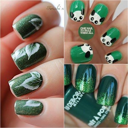 зеленый маникюр