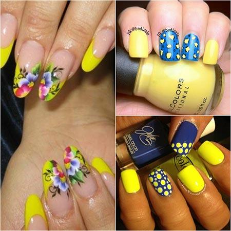 Дизайн ногтей в желтых тонах фото