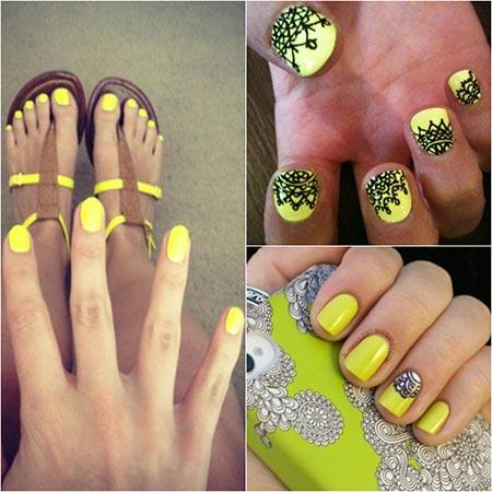 Ногти зеленые с желтым