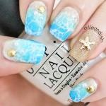 Голубые ногти: дизайн море + пляж