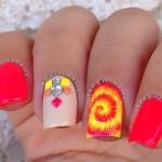 Яркие неоновые ногти «Спиральки»
