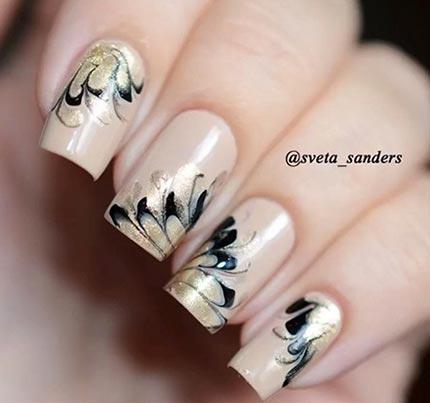рисунок иголкой на ногтях