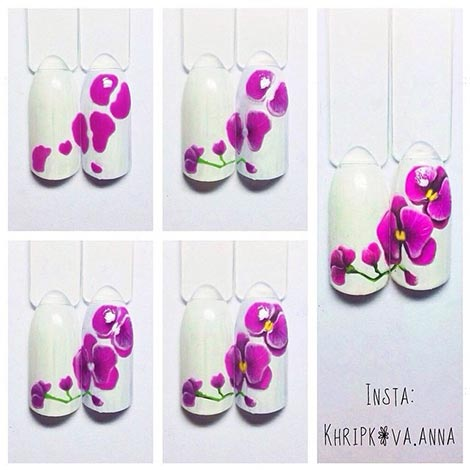дизайн ногтей с орхидеями