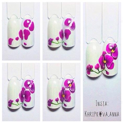 Пошагово рисуем цветы на ногтях