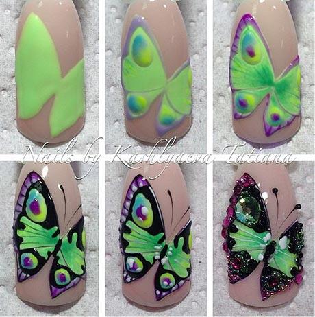 Бабочка на ногтях дизайн пошагово