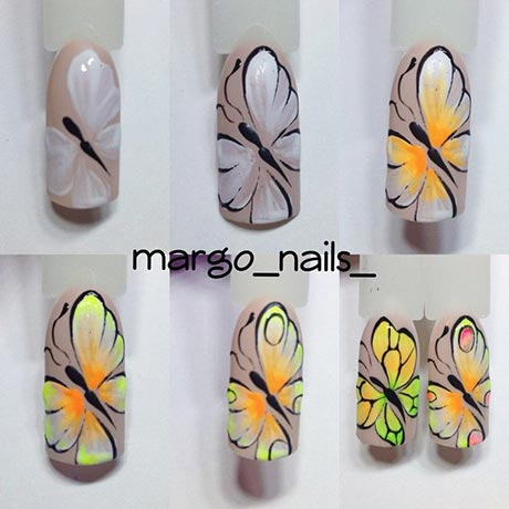 дизайн ногтей бабочки