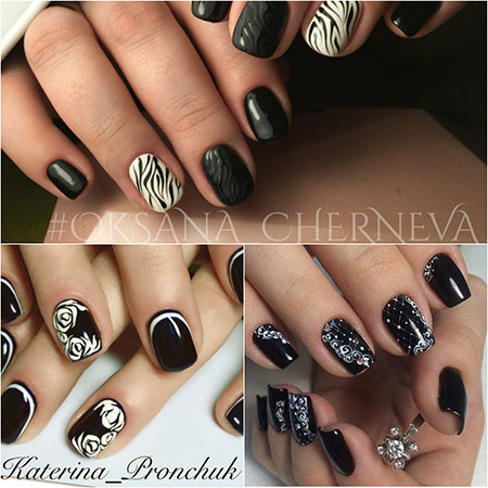 черно-белые ногти
