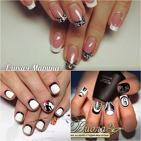 Дизайн ногтей черно белый со стразами