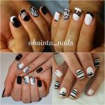 Черно-белый дизайн ногтей — 70 идей