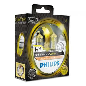 Галогенная лампа PHILIPS COLOR VISION YELLOW H4 12V 60/55W 3350K